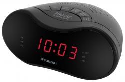Радиобудильник Hyundai H-RCL160 черный LED подсв:красная часы:цифровые AM/FM